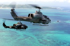 Two AH-1W Super Cobra helicopters (photo by Marine Staff Sgt. Jason M. Webb)