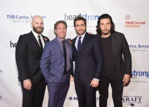 Marine Corps Veteran, actor Caleb Wells, Founder of Headstrong Project Zach Iscol, actors Jake Gyllenhaal and Adam Driver at Headstrong Project Words Of War Gala on October 17, 2016. (Jamie McCarthy/Getty Images)